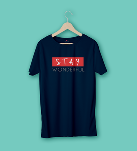 STAY WONDERFUL HALF-SLEEVE T-SHIRT (NAVY BLUE)