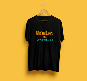 """ BACHELORS IN LYADHOLOGY"" HALF-SLEEVE T-SHIRT (BLACK) - antherr"