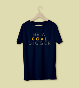 BE A GOAL DIGGER HALF-SLEEVE T-SHIRT (NAVY-BLUE) - antherr
