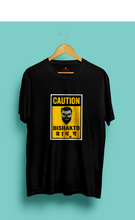 "Load image into Gallery viewer, ""CAUTION-BISHAKTO MANUSH""  HALF-SLEEVE T-SHIRT (BLACK) - antherr"