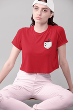 "Load image into Gallery viewer, "" CUTE CAT "" - HALF SLEEVE POCKET DESIGN CROP TOPS - ANTHERR"