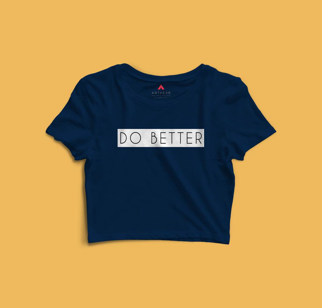 DO BETTER HALF-SLEEVE CROP TOP (NAVY-BLUE) - antherr