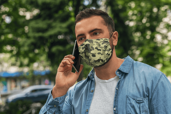 Olive Camouflage : Printed Tetra Shield Protection Mask ( PACK OF 3 ) - ANTHERR