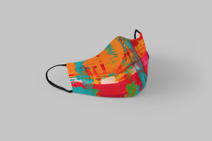RED AND TEAL : Printed Tetra Shield Protection Mask - ANTHERR