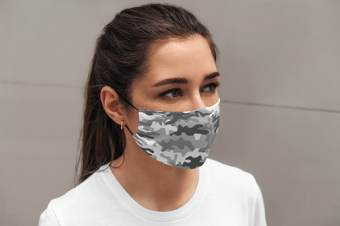 Grey Camouflage : Printed Tetra Shield Protection Mask - ANTHERR