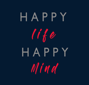 HAPPY LIFE HAPPY MIND HALF-SLEEVE CROP TOP (BLACK) - antherr