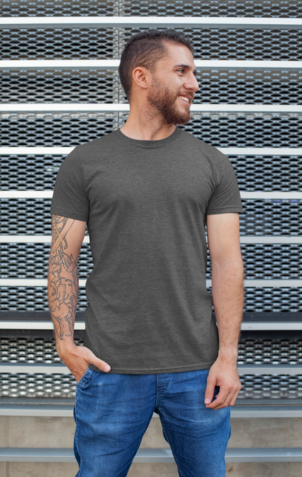 BASIC HEATHER CHARCOAL GREY HALF-SLEEVE T-SHIRTS