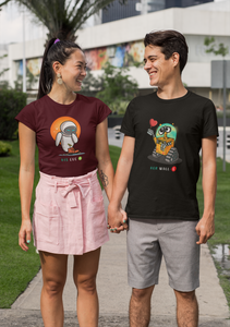 His Eve & Her Wall E: Disney- Half Sleeve Couple T shirts