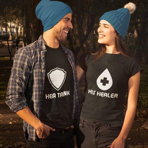Her Shield, His Healer - Half Sleeve Couple T shirts
