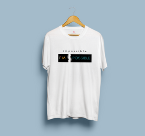 """IMPOSSIBLE"" HALF-SLEEVE T-SHIRT (WHITE) - antherr"