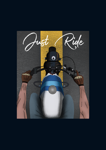 """JUST RIDE "" HALF-SLEEVE T-SHIRT (NAVY BLUE) - antherr"