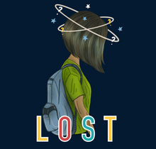 "Load image into Gallery viewer, ""LOST "" -HALF-SLEEVE CROP TOP - antherr"
