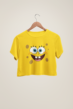 Load image into Gallery viewer, Spongebob Face - HALF-SLEEVE CROP TOPS