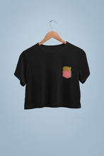 "Load image into Gallery viewer, "" FRENCH FRIES LOVE "" Half-sleeve Pocket Design Crop Tops - ANTHERR"
