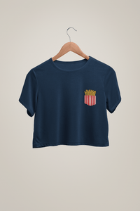 """ FRENCH FRIES LOVE "" Half-sleeve Pocket Design Crop Tops - ANTHERR"