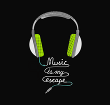 Load image into Gallery viewer, MUSIC IS MY ESCAPE HALF T-SHIRT (BLACK) - antherr