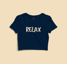 "Load image into Gallery viewer, "" RELAX "" - HALF SLEEVE CROP TOP (NAVY BLUE) - antherr"