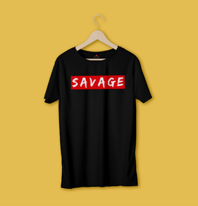 """SAVAGE"" -  HALF-SLEEVE T-SHIRT (BLACK) - antherr"