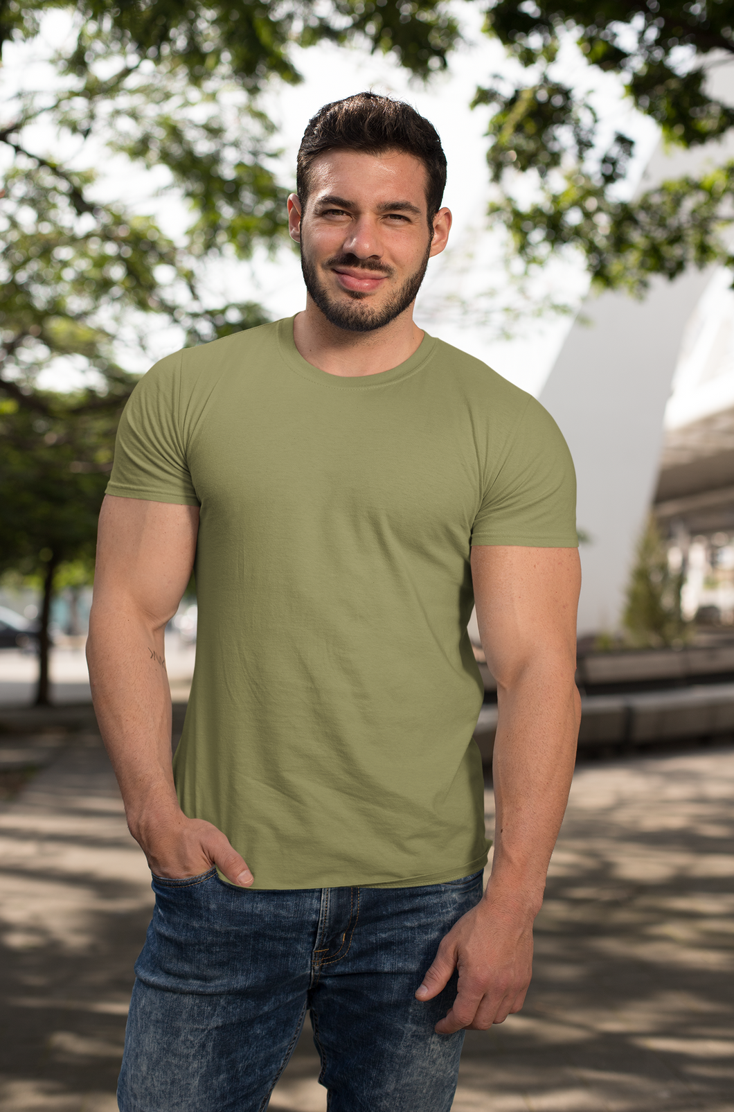 BASIC OLIVE GREEN HALF-SLEEVE T-SHIRTS