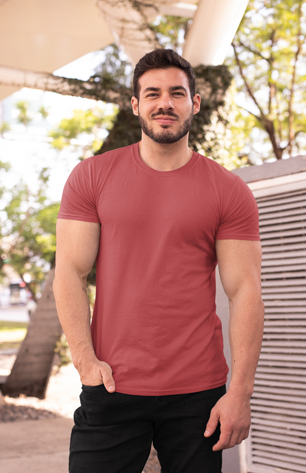 BASIC BRICK RED HALF-SLEEVE T-SHIRTS