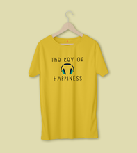 Load image into Gallery viewer, THE KEY OF HAPPINESS HALF-SLEEVE T-SHIRT (YELLOW) - antherr