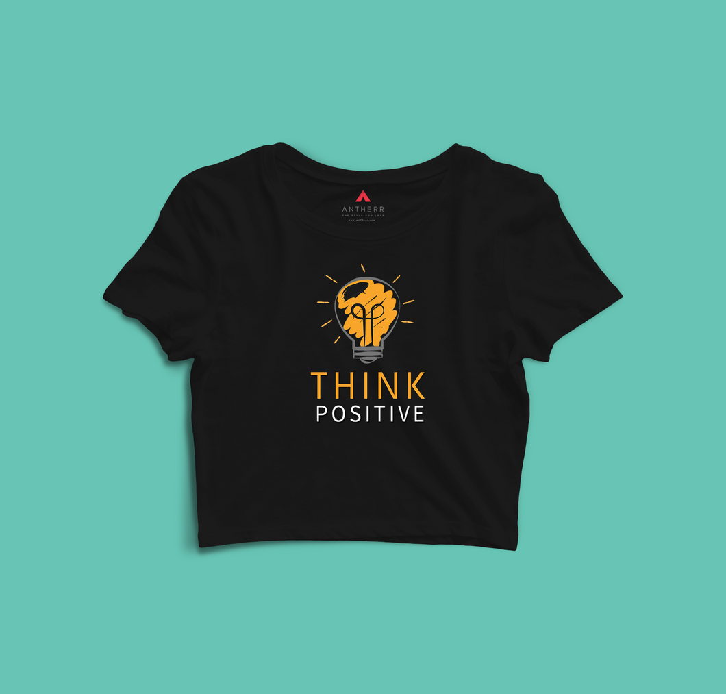 THINK POSITIVE  Half-sleeve Crop Top (BLACK) - antherr