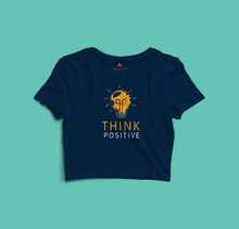 "Load image into Gallery viewer, ""THINK POSITIVE"" -  HALF SLEEVE CROP TOP'S"