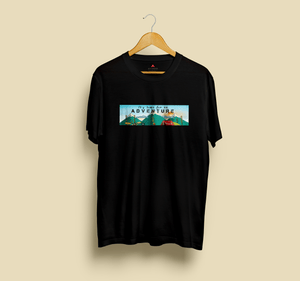 """ TIME FOR AN ADVENTURE "" HALF-SLEEVE T-SHIRT (BLACK) - antherr"