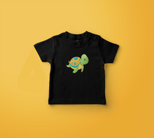 "Load image into Gallery viewer, ""BABY TURTLE"" KIDS HALF-SLEEVE T-SHIRT (BLACK) - antherr"