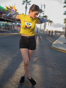 Spongebob Face - HALF-SLEEVE CROP TOPS