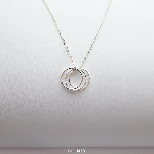 Triple Karma Necklace, Karma Necklace, Circle
