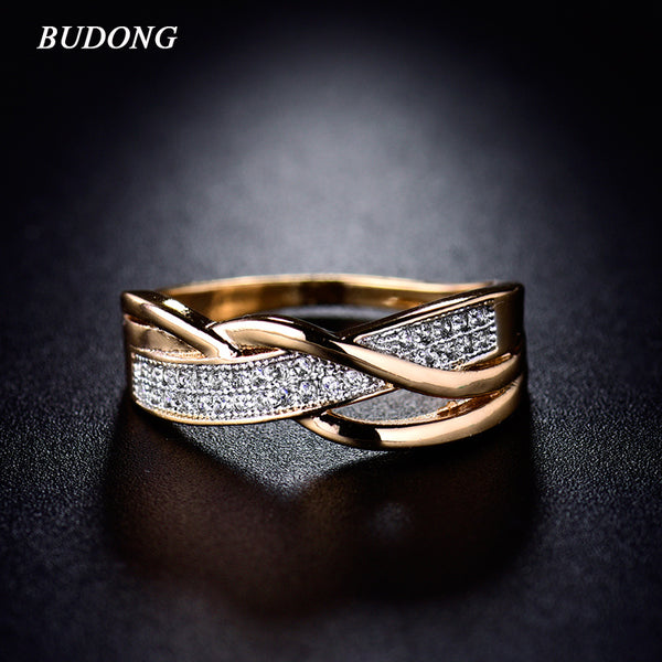 BUDONG Rings for Women Valentine Present Fashion Spiral CZ Crystal Gold-Color Mid Ring Cubic Zirconia Promise Jewelry xuR247