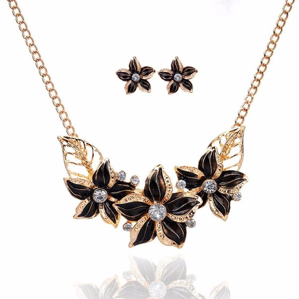 Women Crystal Enamel Flower Pendant Necklace Earrings Jewelry Set Flower Drops Set Necklace #py30