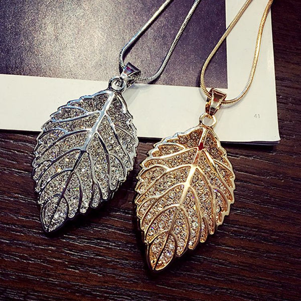 Fashion long section leaf sweater chain necklace Fine jewelry Crystals from Swarovski female OpaL hanging chain jewelry