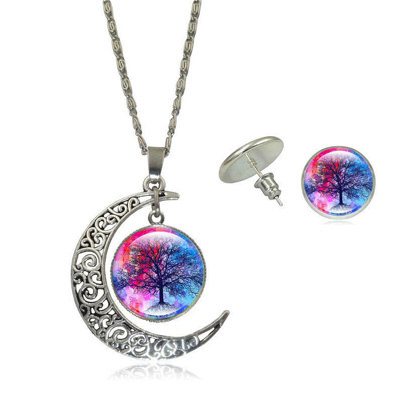Life Tree Art Picture Pendant Statement Chain Crescent Moon Necklace