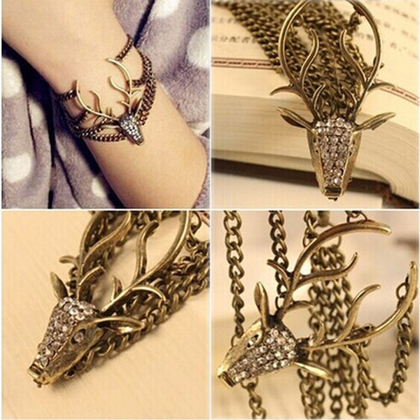 Vintage Retro Deer Head Bracelet Bangles Chain