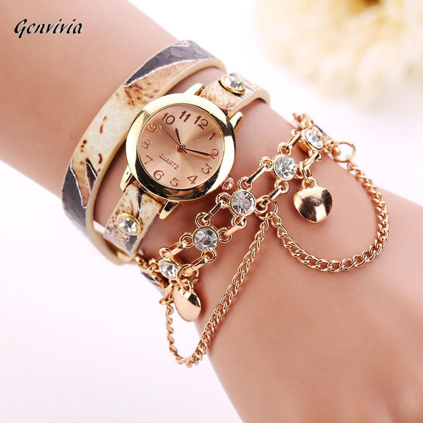 Woman Leather Rhinestone Rivet Chain Quartz Bracelet Wristwatch Watch Luxury Brand Stainless Steel watches Ladies Feminino