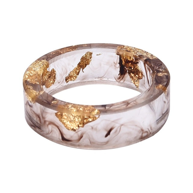 LIEBE ENGEL Hot Sale 8 Colors Gold Foil Paper Inside Resin Ring For Women And Men Jewelry Colorful High Quality Handmade Ring