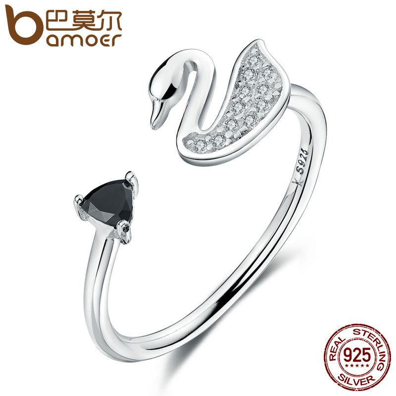 BAMOER Popular Genuine 925 Sterling Silver Swan Love Clear Triangle Black CZ Women Open Finger Rings Engagement Jewelry SCR075