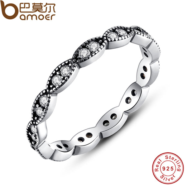 Authentic 100% 925 Sterling Silver Leaves Stackable Ring Clear Cubic Zirconia Compatible with Original Jewelry PA7120