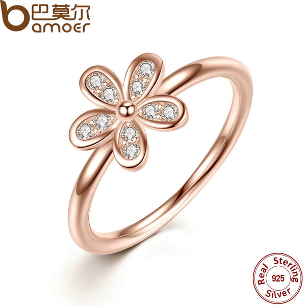 BAMOER 925 Sterling Silver Rings Dazzling Daisy,   & Clear CZ  Finger Ring Classic Wedding Jewelry PA7188