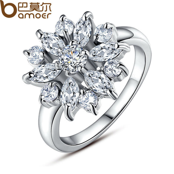 BAMOER  White Gold Color Finger Ring for Women with AAA Clear/White Cubic Zircon Wedding Jewelry #6 7 8 9 JIR030