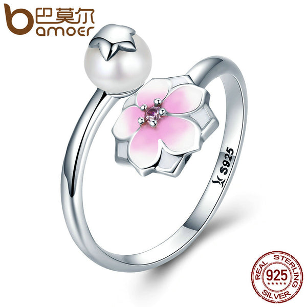 BAMOER 100% 925 Sterling Silver Magnolia Bloom, Pale Cerise Enamel Open Finger Rings for Women Sterling Silver Jewelry SCR126