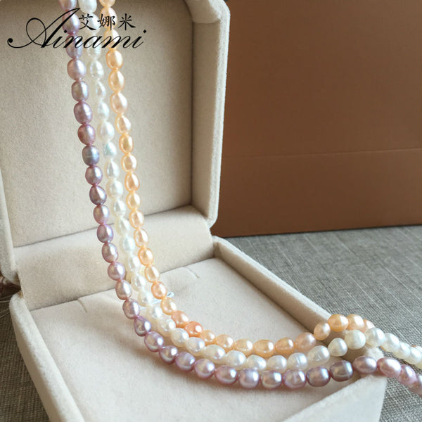 [Ainami] cheapest 4-4.5mm mini Rice Pearl Necklaces Natural Pearl Choker Necklace Classic Pearl Jewelry best gift Free shipping