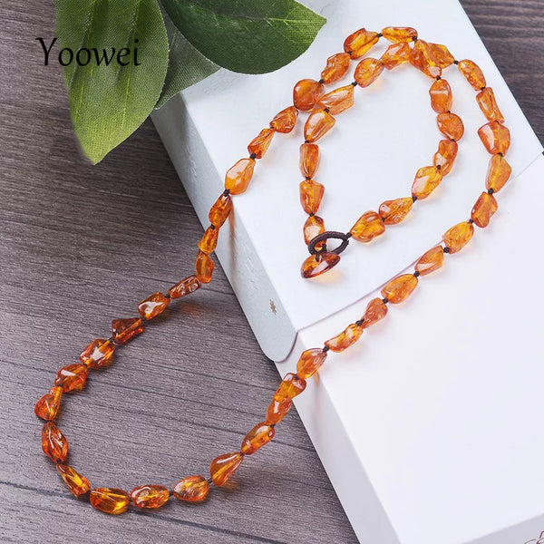 Yoowei 60cm Natural Amber Necklace for Unisex Birthday Gifts Original Genuine Beads Adults 100% Real Baltic Amber Jewelry Collar