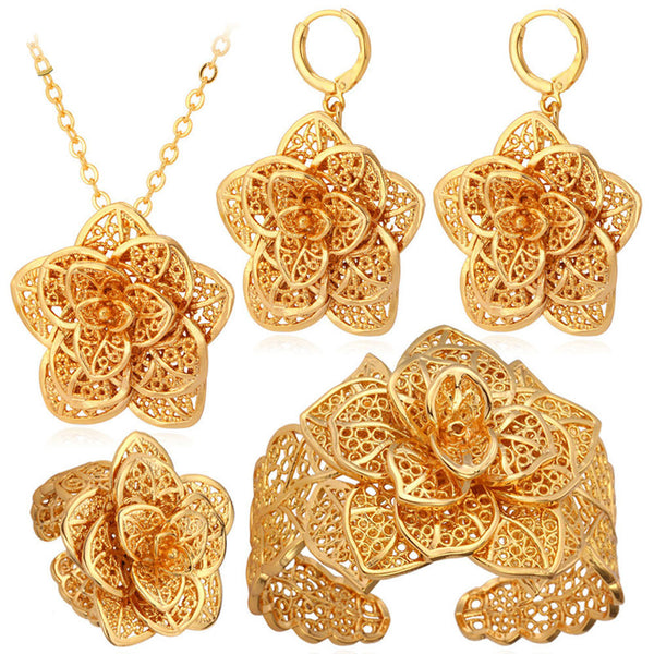 U7 18K Gold Plated Big Flower Pendant Necklace Bracelet Earrings And R