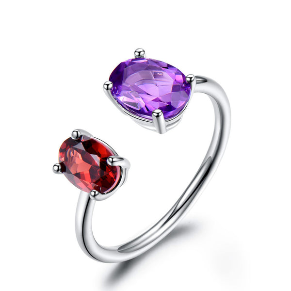 10.7ct Sterling Silver Natural Amethyst Garnet Ring