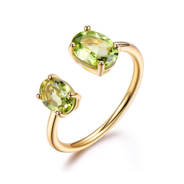 10.7ct Natural Peridot Ring Gemstone Solid 925 Sterling Silver Engagement Rings