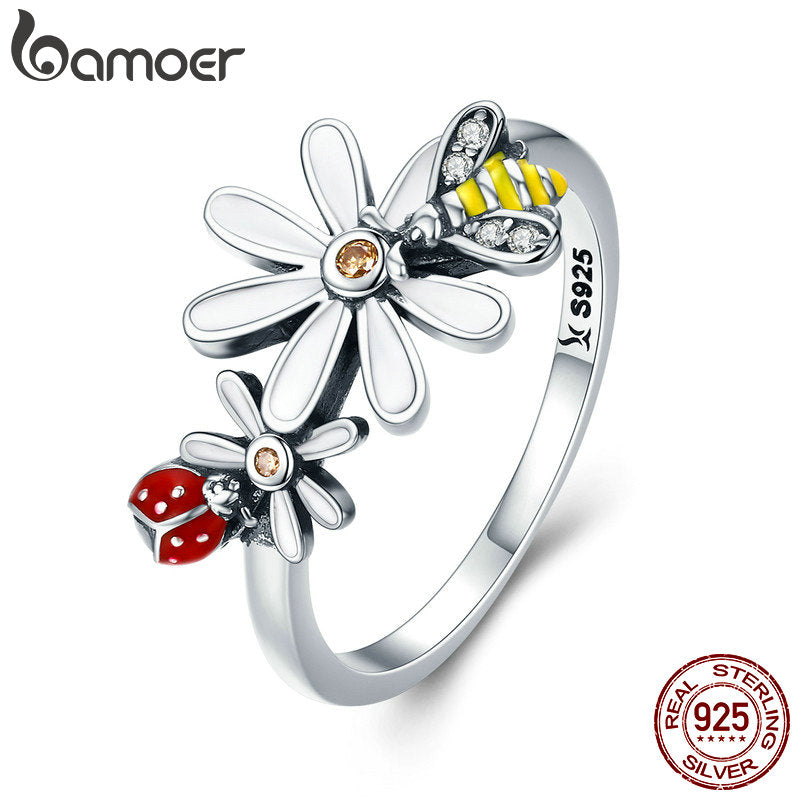 BAMOER Genuine 100% 925 Sterling Silver Bee and Ladybug in Flower Garden Finger Rings for Women Sterling Silver Jewelry SCR311