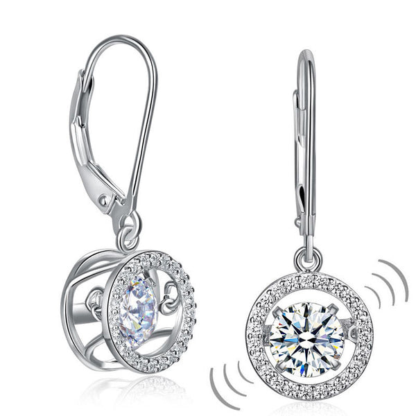 Classic Dancing Stone Dangle Drop Earrings 925 Sterling Silver Simulated Diamond